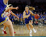 SIOUX FALLS, SD - MARCH 10: Lindsey Theuninck #3 of the South Dakota State Jackrabbits drives to the basket against Madison McKeever #23 of the South Dakota Coyotes during the women's championship game at the 2020 Summit League Basketball Tournament in Sioux Falls, SD. (Photo by Richard Carlson/Inertia)
