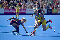 Australia's Stephanie Kershaw battles with Nertherlands' Lauren Stam<br /> <br /> Photographer Hannah Fountain/CameraSport<br /> <br /> Vitality Hockey Women's World Cup - Australia v Netherlands - Saturday 4th August 2018 - Lee Valley Hockey and Tennis Centre - Stratford<br /> <br /> World Copyright &copy; 2018 CameraSport. All rights reserved. 43 Linden Ave. Countesthorpe. Leicester. England. LE8 5PG - Tel: +44 (0) 116 277 4147 - admin@camerasport.com - www.camerasport.com