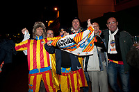 Thursday 28 November  2013  Pictured: Valencia Fans outside the liberty stadium <br /> Re:UEFA Europa League, Swansea City FC vs Valencia CF  at the Liberty Staduim Swansea
