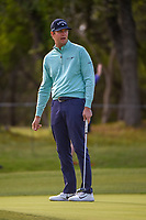 Hudson Swafford (USA) reacts to his putt on 14 during Round 1 of the Valero Texas Open, AT&amp;T Oaks Course, TPC San Antonio, San Antonio, Texas, USA. 4/19/2018.<br /> Picture: Golffile | Ken Murray<br /> <br /> <br /> All photo usage must carry mandatory copyright credit (&copy; Golffile | Ken Murray)