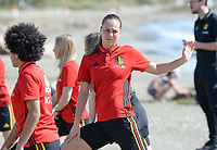 20180302 - LARNACA , CYPRUS :  Belgian Jassina Blom pictured during a Muscular warm up training session on the beach before a women's soccer game between The Belgian Red Flames and Spain , on friday 2 March 2018 on the CTO Beach in Larnaca , Cyprus . The game will be the second game in group B for Belgium during the Cyprus Womens Cup , a prestigious women soccer tournament as a preparation on the World Cup 2019 qualification duels. PHOTO SPORTPIX.BE | DAVID CATRY
