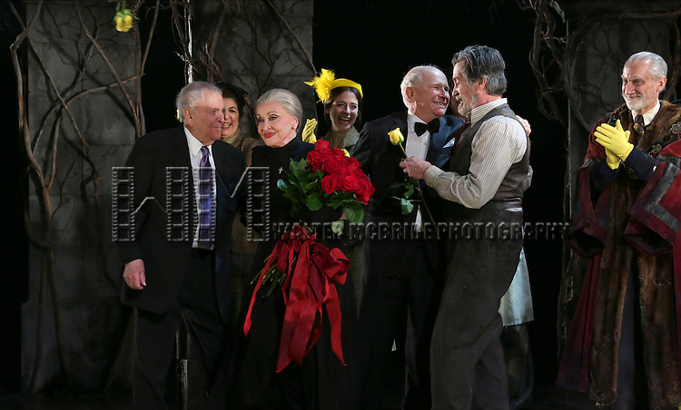 John Kander, Chita Rivera, Terrence McNally, Roger Rees, David Garrison and cast during the Broadway Opening Night Performance Curtain Call for 'The Visit'  at the Lyceum Theatre on April 23, 2015 in New York City.