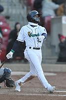 Cedar Rapids Kernels center fielder Akil Baddoo (24) swings at a pitch against the Quad Cities River Bandits at Veterans Memorial Stadium on April 7, 2018 in Cedar Rapids, Iowa. The Kernels won 4-3.  (Dennis Hubbard/Four Seam Images)