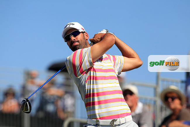 Alvaro Quiros (ESP) tees off the 1st tee during Friday's Round 2 of the 2013 Portugal Masters held at the Oceanico Victoria Golf Club. 11th October 2013.<br /> Picture: Eoin Clarke www.golffile.ie