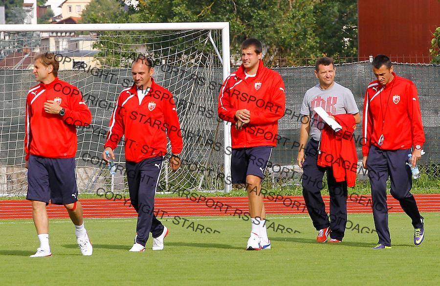 Fudbal season 2013-2014<br /> FK Crvena Zvezda pripreme<br /> Crvena Zvezda v Krka<br /> Head coach Nenad Lalatovic (C) Nebojsa Milosevic (L) Bratislav Zivkovic Goran Negic and Dragan Sarac<br /> Novo Mesto, 07.12.2014.<br /> foto: Srdjan Stevanovic/Starsportphoto &copy;