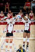 STANFORD, CA - September 2, 2010: Hayley Spelman (21) and Jessica Walker (7) during a volleyball match against UC Irvine in Stanford, California. Stanford won 3-0.