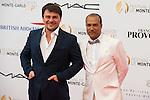 French actors Thierry Godard (L) and Pascal Legitimus (R) pose during the opening Ceremony of the 54st Monte-Carlo Television Festival on June 7, 2014 in Monaco.