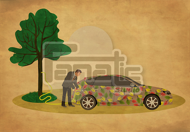 Illustrative image of businessman refueling car representing go green concept