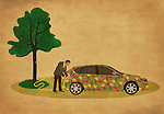 Illustrative image of businessman refueling car representing go green concept