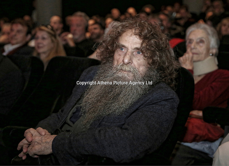 Greek folk musician Psarantonis in the auditorium of the Mera25 Diem political party convention at the Ilissia Theatre, Athens, Greece. Monday 26 March 2018