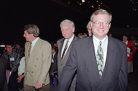 Montreal (qc) CANADA - file Photo - 1992 - <br /> Union des Municipalites du Quebec convention in April - <br /> Jean Dore, Mayor of Montreal  (L), Claude Ryan, Quebec Minister of Municipal Affaires,(M), Gilles Vaillancourt, UMQ Vice-President and Mayor of Laval (R)