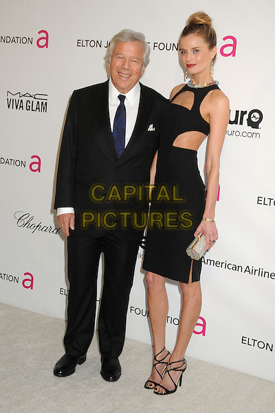 Robert Kraft & guest.21st Annual Elton John Academy Awards Viewing Party held at West Hollywood Park, West Hollywood, California, USA..February 24th, 2013.oscars full length black suit dress cut out away .CAP/ADM/BP.©Byron Purvis/AdMedia/Capital Pictures.