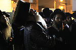 Israel, Lag B'Omer celebration in Bnei Brak, the Rebbe of Premishlan prays before the lighting of the fire