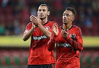FUSSBALL   1. BUNDESLIGA  SAISON 2012/2013   5. Spieltag FC Augsburg - Bayer 04 Leverkusen           26.09.2012 Oemer Toprak und Karim Bellarabi  (v.li., Bayer 04 Leverkusen)