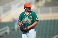 Greensboro Grasshoppers relief pitcher Ryan McKay (30) looks to his catcher for the sign against the Kannapolis Intimidators at Kannapolis Intimidators Stadium on August 5, 2018 in Kannapolis, North Carolina. The Intimidators defeated the Grasshoppers 9-0 in game two of a double-header.  (Brian Westerholt/Four Seam Images)