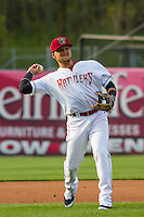 Wisconsin Timber Rattlers shortstop Isan Diaz (6) throws to first base during a Midwest League game against the Clinton LumberKings on May 9th, 2016 at Fox Cities Stadium in Appleton, Wisconsin.  Clinton defeated Wisconsin 6-3. (Brad Krause/Four Seam Images)
