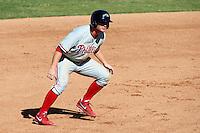 Peoria Javelinas third baseman Cody Asche #24, of the Philadelphia Phillies organization, during an Arizona Fall League game against the Mesa Solar Sox at HoHoKam Park on October 15, 2012 in Mesa, Arizona.  Peoria defeated Mesa 9-2.  (Mike Janes/Four Seam Images)