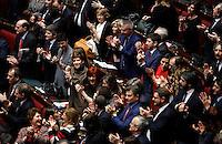 In alto da sinistra Linda Lanzillotta, Lorenzo Guerini, Roberto Speranza, Matteo Orfini, Debora Serracchiani e Marianna Madia, in basso Maria Elena Boschi applaudono l'elezione del Presidente della Repubblica<br /> Roma 31-01-2015 Camera. Elezione del Presidente della Repubblica. Al quarto scrutinio e' stato eletto il nuovo Presidente.<br /> Lower Chamber. Elections for the President of the Republic. The president has been elected at the fourth votation.<br /> Photo Samantha Zucchi Insidefoto