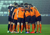Pictured: Wolverhampton Wanderers players huddle before kick off Monday 13 March 2017<br /> Re: Premier League 2, Swansea City U23 v Wolverhampton Wanderers FC at the Liberty Stadium, Swansea, UK