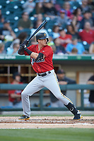 Kevin Newman (2) of the Indianapolis Indians at bat against the Charlotte Knights at BB&T BallPark on April 27, 2019 in Charlotte, North Carolina. The Indians defeated the Knights 8-4. (Brian Westerholt/Four Seam Images)