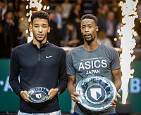 Rotterdam, The Netherlands, 16 Februari 2020, ABNAMRO World Tennis Tournament, Ahoy,<br /> Mens Single Final: Winner  Gaël Monfils (FRA) (R) and  the runner up Felix Auger-Aliassime (CAN) with the trophy <br /> Photo: www.tennisimages.com