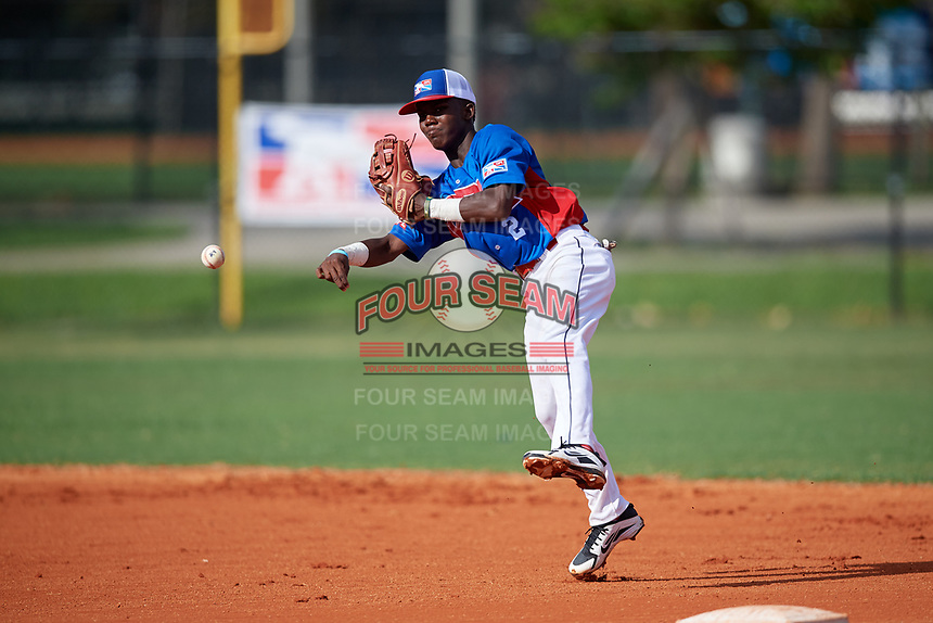 Welbyn Francisca (2) during the Dominican Prospect League Elite Florida Event at Pompano Beach Baseball Park on October 14, 2019 in Pompano beach, Florida.  (Mike Janes/Four Seam Images)