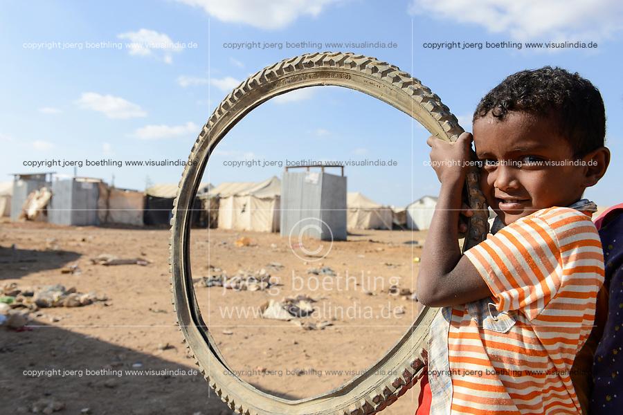 DJIBOUTI , Obock, refugee camp Markazi for yemeni war refugees / DSCHIBUTI, Obock, Fluechtlingslager Markazi fuer jemenitische Fluechtlinge