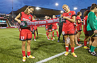 Portland, Oregon - Wednesday June 22, 2016: Portland Thorns FC midfielder Tobin Heath (17) and Allie Long (10) during a regular season National Women's Soccer League (NWSL) match at Providence Park.