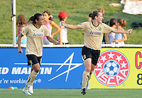 FC. Gold Pride midfielder Tiffeny Milbrett (15) celebrates her goal with forward Marta (10)    FC Gold Pride defeated Washington Freedom 4-1, Saturday July 24, 2010