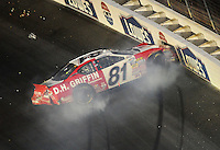 Oct. 15, 2009; Concord, NC, USA; NASCAR Nationwide Series driver Kevin Hamlin crashes during the Dollar General 300 at Lowes Motor Speedway. Mandatory Credit: Mark J. Rebilas-