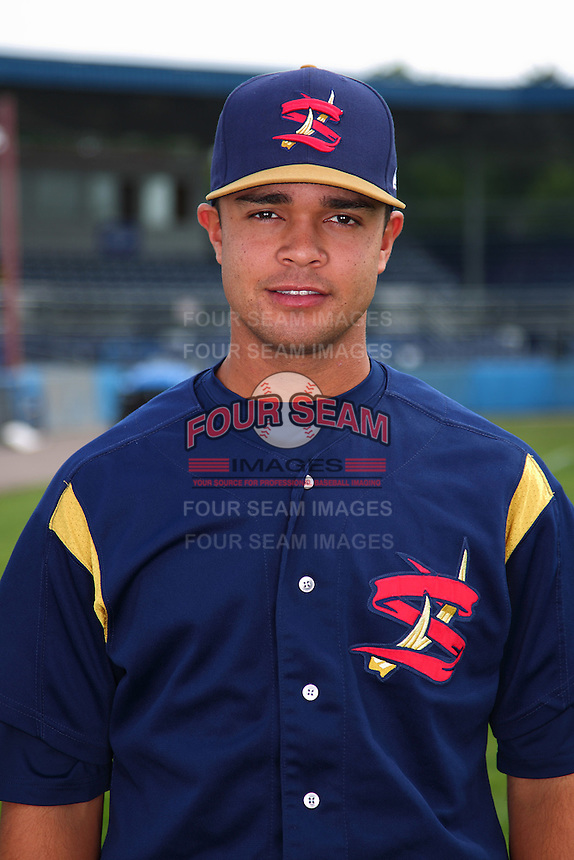 State College Spikes outfielder Exicardo Cayones #16 poses for a photo before a game against the Batavia Muckdogs at Dwyer Stadium on July 7, 2011 in Batavia, New York.  Batavia defeated State College 16-3.  (Mike Janes/Four Seam Images)