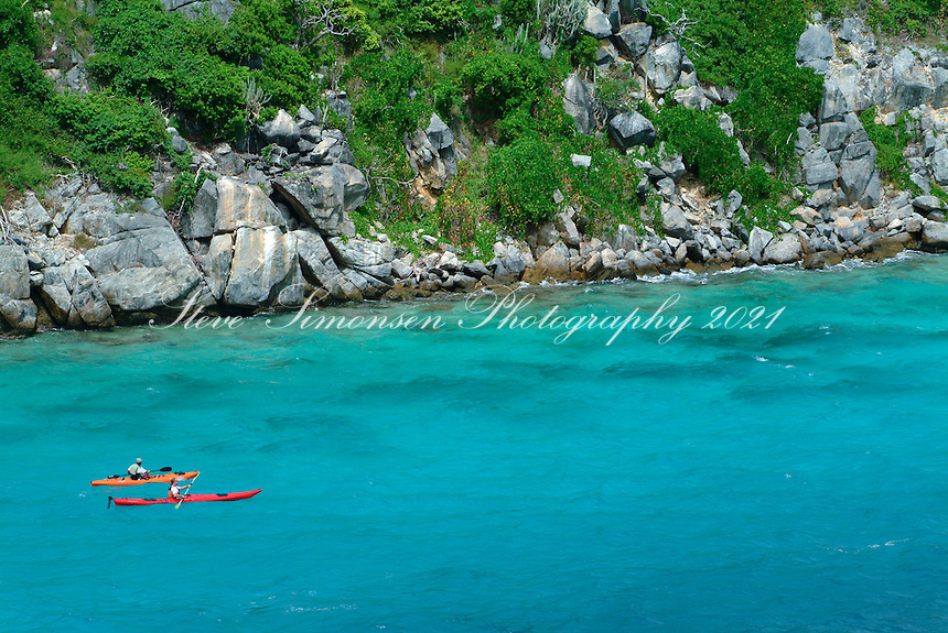 Aerial view of Arawak Expeditions kayakers<br />