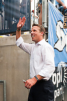 Philadelphia Union interim manager John Hackworth waves to fans after the game. The Philadelphia Union defeated Toronto FC 3-0 during a Major League Soccer (MLS) match at PPL Park in Chester, PA, on July 8, 2012.