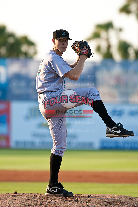 Pitcher Chad James #33 of the Jupiter Hammerheads during the game against the Daytona Cubs at Jackie Robinson Ballpark on May 5, 2012 in Daytona Beach, Florida. (Scott Jontes/Four Seam Images)