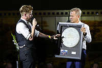Jeremy Kyle hosts the auction as Ricky Wilson of the Kaiser Chiefs donates a drum skin that he first wrote the lyrics of I Predict a Riot on at the evening event of the Graham Wylie Foundation- Have A Heart- golf day with Lee Westwood and Ronan Keating at Gateshead Hilton England on 10 September 2018. Photo by Thomas Gadd.