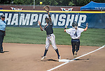 30 MAY 2016: Brooke Pompeo (4) of Messiah College beats the throw to first base during the Division III Women's Softball Championship is held at the James I Moyer Sports Complex in Salem, VA.  University of Texas-Tyler defeated Messiah College 7-0 for the national title. Don Petersen/NCAA Photos