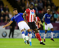 Lincoln City's John Akinde vies for possession with Everton's Mason Holgate<br /> <br /> Photographer Chris Vaughan/CameraSport<br /> <br /> The Carabao Cup Second Round - Lincoln City v Everton - Wednesday 28th August 2019 - Sincil Bank - Lincoln<br />  <br /> World Copyright © 2019 CameraSport. All rights reserved. 43 Linden Ave. Countesthorpe. Leicester. England. LE8 5PG - Tel: +44 (0) 116 277 4147 - admin@camerasport.com - www.camerasport.com