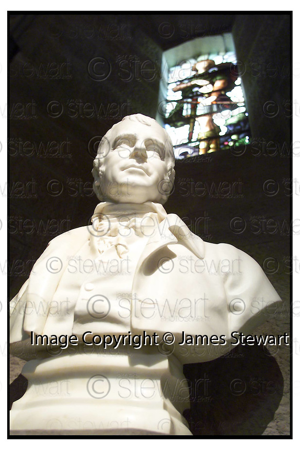 17th April 2000         Copyright Pic : James Stewart .Ref :                           .File Name : stewart07-wallaces monument                        .THE BUST OFSIR WALTER SCOTT RECENTLY RESTORED AT THE WALLACE MONUMENT....(see copy from George Mair / Tim Bugler).Payments to :-.James Stewart Photo Agency, Stewart House, Stewart Road, Falkirk. FK2 7AS      Vat Reg No. 607 6932 25.Office : 01324 630007        Mobile : 0421 416997.E-mail : jim@jspa.co.uk.           : jim@jamesstewart.co.uk.If you require further information then contact Jim Stewart on any of the numbers above.........