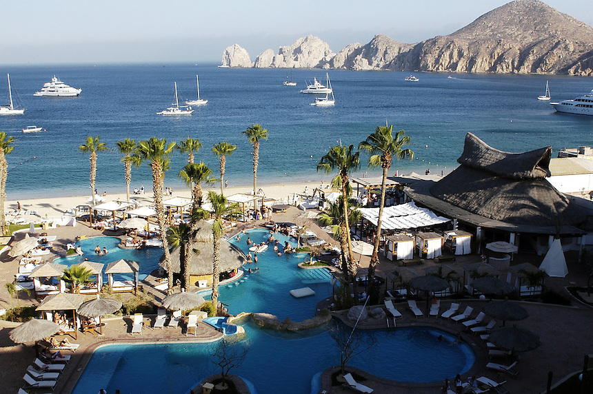 Nikki Beach club seen from one of the balconies of Hotel Melia, a spring break favorite in Cabo San Lucas, Los Cabos, Baja California, Mexico