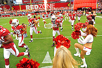 Sept. 13, 2009; Glendale, AZ, USA; Arizona Cardinals cheerleaders performs as the team takes the field prior to the game against the San Francisco 49ers at University of Phoenix Stadium. San Francisco defeated Arizona 20-16. Mandatory Credit: Mark J. Rebilas-