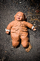 Children's toy doll left behind at Security Self Storage that suffered major damage due to Hurricane Katrina flooding in New Orleans East, Louisiana.