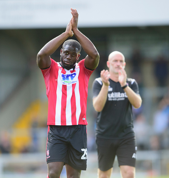 Lincoln City's John Akinde applauds the fans at the final whistle<br /> <br /> Photographer Andrew Vaughan/CameraSport<br /> <br /> The EFL Sky Bet League One - Wycombe Wanderers v Lincoln City - Saturday 7th September 2019 - Adams Park - Wycombe<br /> <br /> World Copyright © 2019 CameraSport. All rights reserved. 43 Linden Ave. Countesthorpe. Leicester. England. LE8 5PG - Tel: +44 (0) 116 277 4147 - admin@camerasport.com - www.camerasport.com