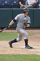 July 1, 2007: Eugene Emeralds' Kellen Kulbacki makes contact with a pitch during a Northwest League game against the Everett AquaSox at Everett Memorial Stadium in Everett, Washington.