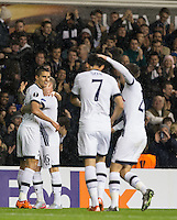 Erik Lamela (left) of Tottenham Hotspur celebrates his 2nd goal during the UEFA Europa League group match between Tottenham Hotspur and Monaco at White Hart Lane, London, England on 10 December 2015. Photo by Andy Rowland.