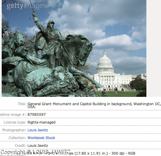 General Grant Monument and Capitol Building in background, Washington DC, USA.