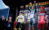 Flanders-winner for the 3rd time: Tom Boonen..2nd: Filippo  Pozzato.3rd: Allesandro Ballan..De Ronde van Vlaanderen 2012