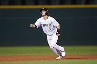 Nick Madrigal (3) of the Charlotte Knights takes his lead off of second base against the Scranton/Wilkes-Barre RailRiders at BB&T BallPark on August 13, 2019 in Charlotte, North Carolina. The Knights defeated the RailRiders 15-1. (Brian Westerholt/Four Seam Images)