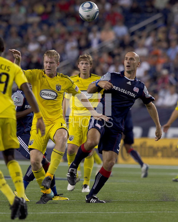 New England Revolution forward Ilija Stolica (9) prepares to receive a chipped pass. The New England Revolution tied Columbus Crew, 2-2, at Gillette Stadium on September 25, 2010.