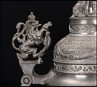 BNPS.co.uk (01202 558833)<br /> Pic: Ratisbons/BNPS<br /> <br /> Ornate lid.<br /> <br /> An ornate beer stein that belonged to one of Donald Trump's German ancestor is being auctioned - suggesting that the famously teetotal Presidents relatives clearly liked a beer.<br /> <br /> The stein is inscribed to 'Infantryman Trump' as well as listing all the other members of his volunteer regiment in the Imperial army just prior to World War One.<br /> <br /> The Trump family was based in Kallstadt which is about 25 miles North of Landau, where the Regiment was based.