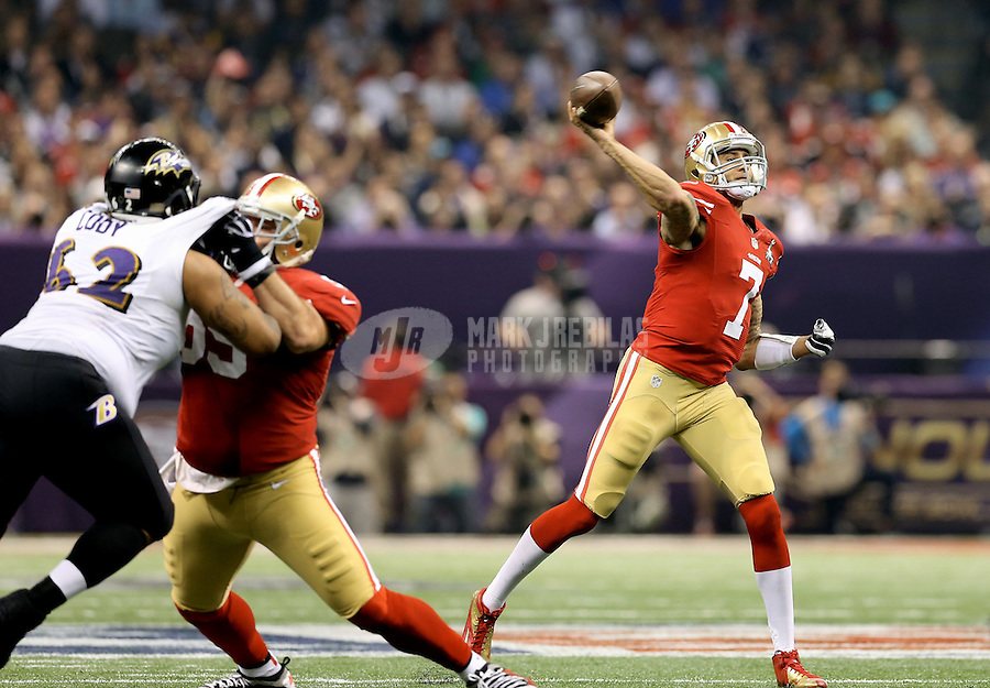 Feb 3, 2013; New Orleans, LA, USA; San Francisco 49ers quarterback Colin Kaepernick (7) throws a pass against the Baltimore Ravens in Super Bowl XLVII at the Mercedes-Benz Superdome. Mandatory Credit: Mark J. Rebilas-